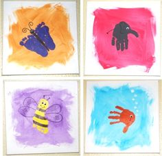 How to Make Handprint {and Footprint} Canvas Art! ~ at TheFrugalGirls.com ~ SO many fun ideas for handprints and footprints. This craft would make such fun homemade gifts from the kids, too!