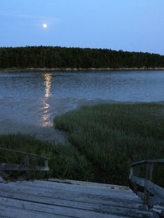 Thomas Point Beach - Brunswick, ME - September 2012 | Lynne Fountain Creative | www.lynnefountain.com | View of full moon across a Maine Coast cove in early evening, from the top of weathered stairs leading to a marsh and beach.