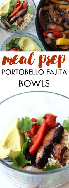 Switch up your meal prep for the week with these Meal Prep Portobello Fajita Bowls! These easy-to-make bowls add a kick of flavor to your daily lunch! | www.leancleanandbrie.com