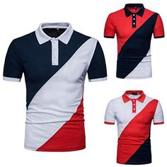 FYI: Malloom Polo Blouse Hommes Casual Slim Patchwork Manches Courtes T-Shirt Polo Shirt Outfits, Polo T Shirts, Work Shirts, Printed Shirts, Polos Lacoste, Mens Shirt Pattern, Mens Casual T Shirts, Polo Shirt Design, Track Pants Mens