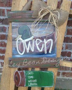 Duck door hanger, hunting, baby door hanger, boy nursery, Joley bean designs