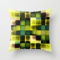 COLOURFUL HILLS V Throw Pillow by Pia Schneider [atelier COLOUR-VISION] #art #geometric #pattern #green #lemon #yellow #blue #piaschneider #gift #decorative #giftidea  #bedding #homedecor #home #pillow #kissen #cushion #throwpillow