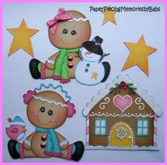 Premade Paper Pieced Winter Gingerbread Man Set for Scrapbook Pages-by Babs