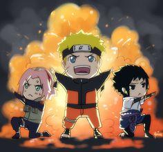 face it...everything looks more epic in chibi form! Naruto Uzumaki. Sakura Haruno. Sasuke Uchiha