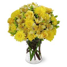 Yellow roses, yellow daisies and yellow lilies in a glass vase Yellow Rose Bouquet, Yellow Rose Flower, Yellow Daisies, Cheap Flowers, Send Flowers, Rose Flower Arrangements, Peruvian Lilies, Clear Glass Vases, Spray Roses