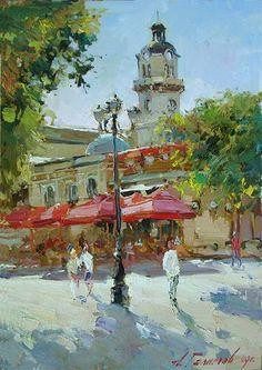 Картина А.Галимова Варна. Кафе рядом с драматическим театром.