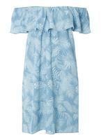 Womens Blue Palm Tree Bardot Dress- Blue
