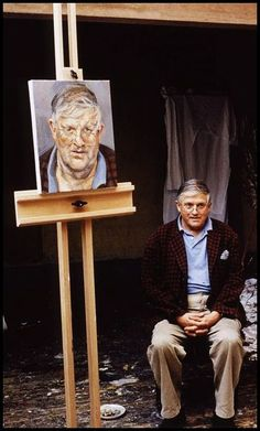 Hockney sitting for Lucian Michael Freud (1922~2011)