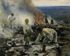 Eero Järnefelt, Kaski/Raatajat rahanalaiset (Burning the Brushwood/Under the Yoke), oil on canvas Ateneum Art Museum, Helsinki, Finland. National romantic art but considered realism art by public. Oil On Canvas, Canvas Prints, Art Prints, History Of Finland, Helene Schjerfbeck, Inspirational Artwork, Helsinki, Art Google, Van Gogh