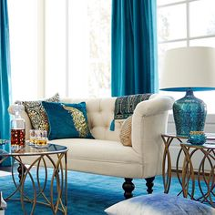 You don't have to stick with orange and brown for your fall decor. Feel free to color outside of the lines with brilliant #peacock blues. #Pier1 You can create this look via our Like2b.uy/Pier1 link in our Instagram profile.