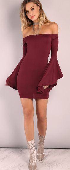 This hyper-bell sleeve dress keeps being an off the shoulder bodycon dress. / Valentine clothes - burgundy bell sleeve bodycon dress