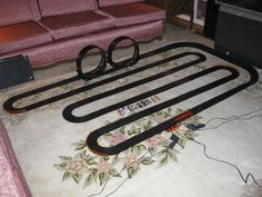 A 2-lane Tomy slot car layout used to test my loops tracks.  My older AFX cars could not handle the loops.