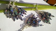 Silver Earrings  10 Carats of Natural Black Ethiopian Opals