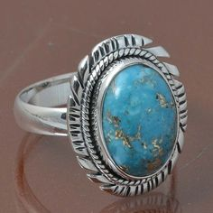 BLUE COPPER TURQUOISE 925 STERLING SILVER RING JEWELRY 5.35g DJR7041 SIZE 8 #Handmade #Ring