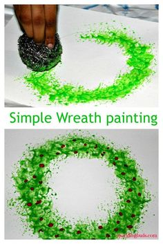 We made this Christmas wreath painting using the stainless steel scouring pad us. - - We made this Christmas wreath painting using the stainless steel scouring pad us. Christmas Arts And Crafts, Christmas Activities, Christmas Projects, Holiday Crafts, Christmas Holidays, Christmas Cards, Christmas Card Ideas With Kids, Christmas Crafts For Preschoolers, Childrens Christmas Crafts