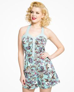 Palmer Blue Shell Print Playsuit   1950's Inspired Fashion   Lindy Bop