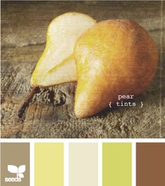 "Maybe she'll like this color palette. It has the mustard green plus brown, which she likes. ""pear tints"""