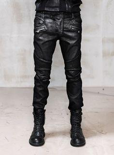 Mens Slimfit Heavy Waxed Black Real Biker Jeans at Fabrixquare