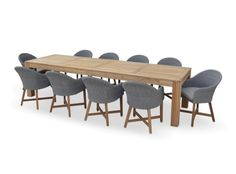 ENTERTAINER 3.3m Teak Outdoor Table with 10 Coastal Wicker Dining Chairs