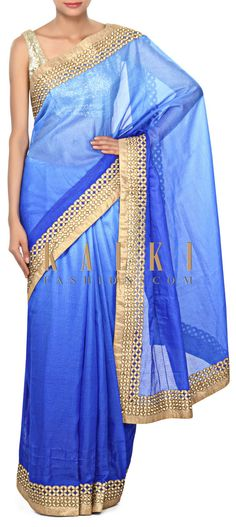 Buy Online from the link below. We ship worldwide (Free Shipping over US$100) Price- $79 Click Anywhere to Tag http://www.kalkifashion.com/blue-shaded-saree-enhanced-in-zari-cut-work-border-only-on-kalki.html