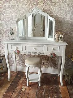 Shabby Chic White Wash Dressing Table Round Stool & Mirror French Vintage 052 Round Stool, Dressing Table, Autumn Home, Dream Bedroom, French Vintage, Entryway Tables, I Shop, Shabby Chic, Vanity