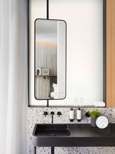 all bathrooms in the Hotel National des Arts et Métiers (Paris) are made with original Verona Terrazzo, flamed granite custom-made sink Modern Bathroom, Small Bathroom, Master Bathroom, Bathroom Black, Rental Bathroom, Bathroom Canvas, Dyi Bathroom, Big Bathrooms, Vanity Bathroom