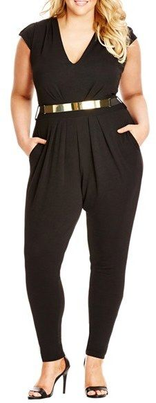 Plus Size Belted Deep V-Neck Jumpsuit (on sale)