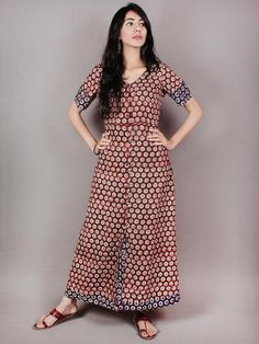 Maroon Beige Red Blue Hand Block Printed Long Cotton Dress With Front Slit - D0425108