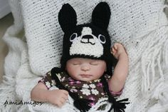 Crochet Little Boston Terrier Hat Newborn by AmiAmigos on Etsy, $20.00