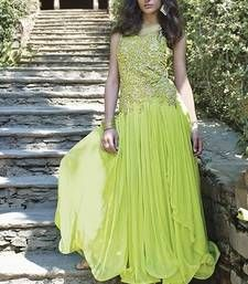 Buy Green embroidered Net semi stitched party-wear-gowns party-wear-gown online
