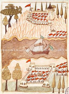 Anadolu ve Rumeli Hisarı-Two large fortresses on the Bosphorus; one on the Greek side and the other in Anatolia, miniature from Turkish Memories,  Cicogna Codex, Turkey 17th Century.