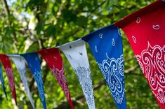 "Front Porch - 4th of July Decorating • Tutorials and ideas, including this ""DIY bandana banner"" by 'Life in Wonderland'!"
