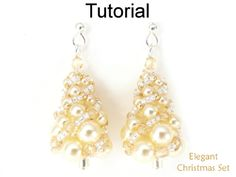 Elegant Christmas Tree Russian Spiral Stitch Necklace Earrings Downloadable Beading Pattern Tutorial | Simple Bead Patterns