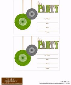 Should we do a green party theme for Cole's bday this year? FREE Gray and Green Party Printables. Green cupcakes, green m&ms, green grapes, etc...