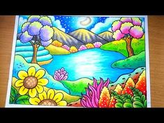 Drawing landscape scenery of spring season drawing scenery easy how to draw landscape scenery of lake menggambar Pemandangan musim semi menggambar Pemandanga. Oil Pastel Drawings Easy, Oil Pastel Paintings, Oil Pastel Art, Colorful Drawings, Easy Drawings, Oil Pastels, Landscape Pencil Drawings, Crayon Drawings, Landscape Art