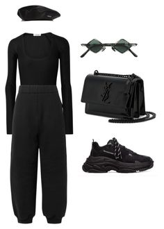 """SLAMMIN"" by thestylefilesx ❤ liked on Polyvore featuring Alix, T By Alexander Wang, kangol, Kuboraum and Yves Saint Laurent"