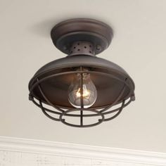 "Franklin Park Metal Cage 8 1/2"" Wide Outdoor Ceiling Light - #2T222 