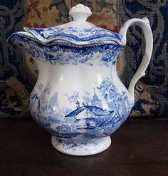 STAFFORDSHIRE BLUE TRANSFERWARE COVERED PUNCH POT / JUG, Pattern:  GENEVESE