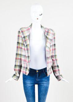 "Multicolor Isabel Marant Wool Blend Plaid ""Madoc"" Belted Jacket"