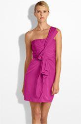 BCBGMAXAZRIA Drape Front One Shoulder Satin Dress