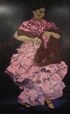 Layla D'Angelo ha desarrollado también otras investigaciones formales e iconográficas, como en la serie de Bailaoras, de la que aquí ofrecemos un exponente destacado: Carmen Cortés, captada en el punto álgido de su despliegue temperamental, recortada sobre fondo oscuro agitando su vestido de volantes, sensual caída en cascada de meandros de seda malva. Su rostro se contrae concentrando en su expresión el ímpetu de su arte. Las manos nudosas agarran con ahínco la mantilla recreada con…