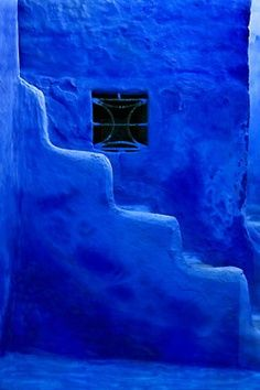 Blue Stairs - Chefchaouen, Tetouan by Michael Levy Purple Haze, Shades Of Purple, Deep Purple, New Blue, Blue And White, Le Grand Bleu, Everything Is Blue, Bleu Indigo, Himmelblau