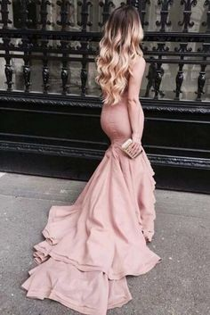 Pink Mermaid Court Train Straight Neck Sleeveless Ruffles Prom Dress,Party Dress P341