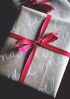 handwriting on brown paper makes for beautiful wrapping paper!