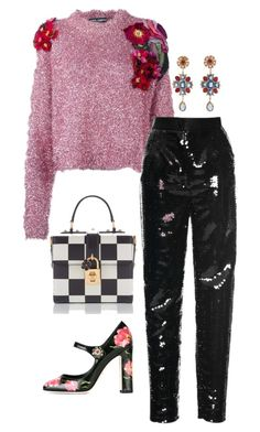 """Saturday Night Date"" by easy-dressing ❤ liked on Polyvore featuring Dolce&Gabbana, Sequins, WhatToWear, polyvoreeditorial and prettysweater"