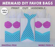 Printable Party Supplies Shop - DIY Party Decorations by CreativePartyStudio Mermaid Party Favors, Mermaid Theme Birthday, Birthday Party Themes, Birthday Cake, Mermaid Invitations, 8th Birthday, Mermaid Diy, Mermaid Gifts, Mermaid Tails