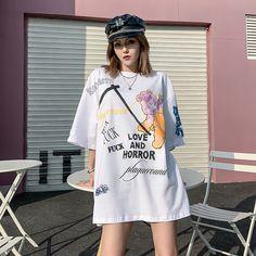 2020 Fashion Graphic Cute Women Cartoon T Shirt Oversized Kawaii Clothes Shirts Ladies Punk Women Clothing Streetwear Tee Tops Grunge Outfits, Girl Outfits, Oversized Hoodie Outfit, Horror, Oversized Graphic Tee, Punk Women, Cartoon T Shirts, Kawaii Clothes, Fashion Graphic