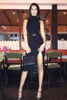 Bella Hadid wearing Saint Laurent Mini Sac De Jour Bag, Christian Louboutin Magicadiva Lace Red Sole Pump and Kookai Ariah Dress