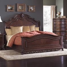 Deryn Park Traditional Queen Sleigh Bed with Ornate Detailing by Homelegance Furniture at Del Sol Furniture Bedroom Furniture Sets, Bed Furniture, Bedroom Sets, Cheap Furniture, Rustic Furniture, Wood Bedroom, Furniture Online, Furniture Ideas, Bedroom Decor