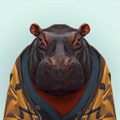 Zoo Portraits - Hippo  Fun, beautiful art and a unique gift idea!